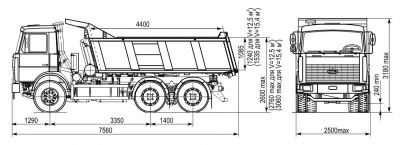 Габаритные размеры самосвала МАЗ-5516A5.